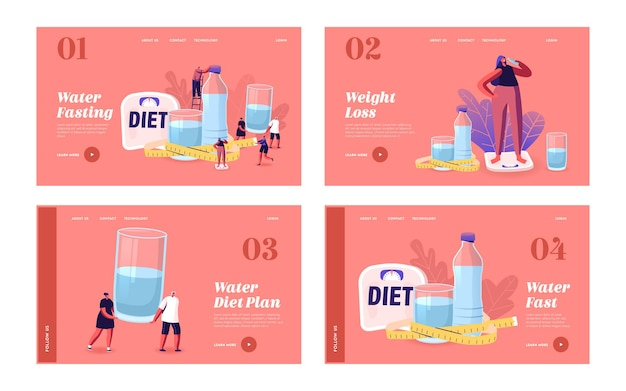 Characters drink water on diet landing page template set. tiny men and women at huge bottle and glasses with fresh pure aqua and scales for weight control and healt. cartoon people vector illustration