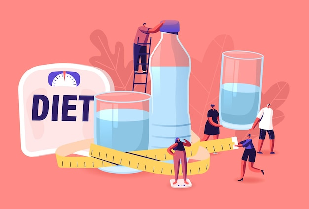 Characters drink water on diet. tiny men and women at huge bottle and glasses with fresh pure aqua and scales for weight control. healthy lifestyle and beauty. cartoon people vector illustration