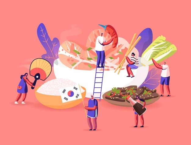 Персонажи едят и готовят традиционную корейскую кухню. люди с национальным фанатом, туристы вокруг огромного блюда с рисом, креветками, жареным мясом, капустой и овощами. векторные иллюстрации шаржа