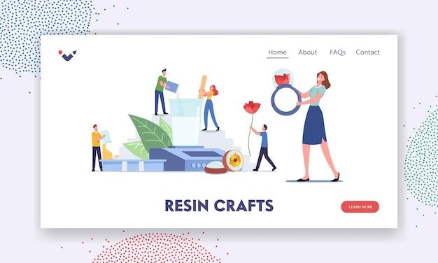キャラクターはレジンホビーランディングページテンプレートに従事します。クラフトジュエルや装飾品、指輪、ペンダントを作るための巨大な機器を持つ小さな人々。ワークショップ手作りクリエイティブアート。漫画のベクトル図