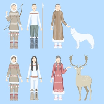 Characters eskimos women and men dressed in national costumes with ethnic weapons  animals reindeer  white wolf