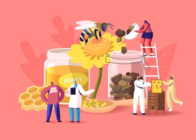 양봉장 생산 꿀과 꽃가루 프로폴리스를 추출하는 캐릭터. 벌집을 복용하는 보호복을 입은 양봉가. 양봉장에서 천연에코 제품을 생산하고 있습니다. 만화 사람들 벡터 일러스트 레이 션