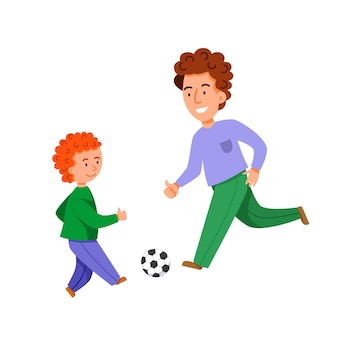 Characters for fatheres day father and son play soccer together