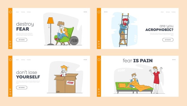 Characters feel fear landing page template set