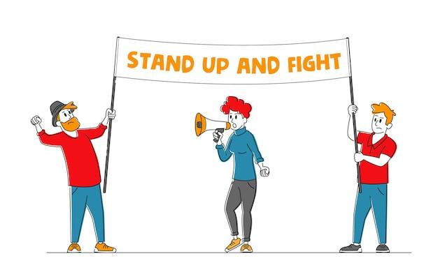 자신의 권리를 위해 싸우는 캐릭터, 전쟁 또는 대통령 선거에 반대하는 시위