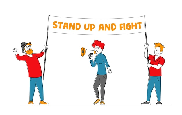 Characters fighting for their rights, protesting against war or presidential election
