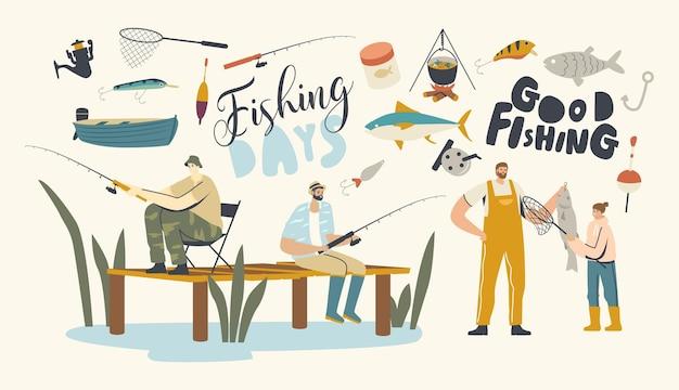 キャラクター釣りの趣味、漁師が釣り棒を持って桟橋に座っている。夏の日、休暇のレジャーで魚を捕まえる湖または川で娘を持つ父。線形の人々のベクトル図