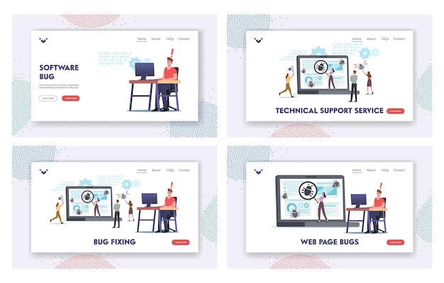 Characters fixing bugs on huge pc landing page template set. software development process, optimization, debugging program or code for laptop. computer technology. cartoon people vector illustration