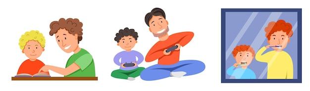 Персонажи ко дню отцов. отец и сын вместе чистят зубы перед зеркалом.