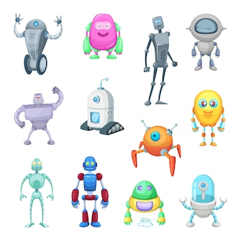 Characters of funny robots in cartoon style.