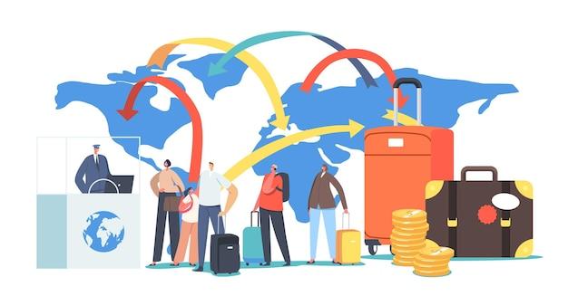 캐릭터는 법적 마이그레이션 개념을 위해 비자를 받습니다. 여행자와 관광객은 세계 이민 및 해외 여행을 위한 출국 서류를 작성합니다. 해외여행. 만화 사람들 벡터 일러스트 레이 션