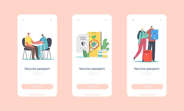 Characters getting coronavirus vaccine health passport mobile app page onboard screen template. vaccination for travelers, covid immune medical certificate concept. cartoon people vector illustration