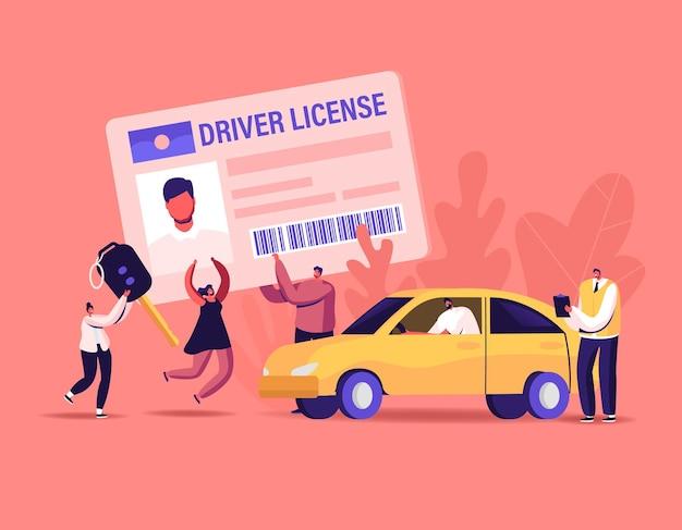運転免許証を取得するキャラクター。インストラクターと一緒に学校で勉強し、ドライブカーを学び、試験に合格する小さな男性と女性は、自動所有の概念の許可を取得します。漫画の人々のベクトル図