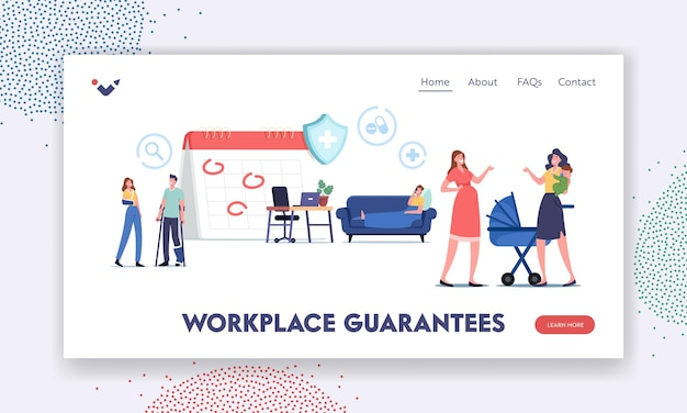 Characters getting workplace guarantees and perks landing page template. financing employees diseases treatment. sick and maternity leave, health accident insurance. cartoon people vector illustration