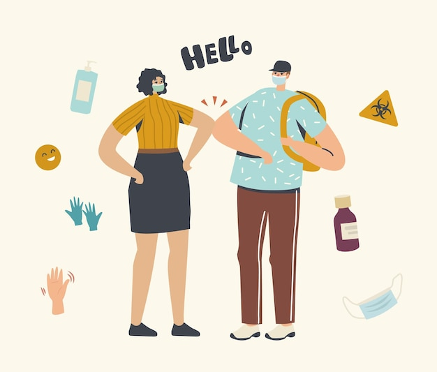 Персонажи приветствуют друг друга локтями вместо рукопожатия