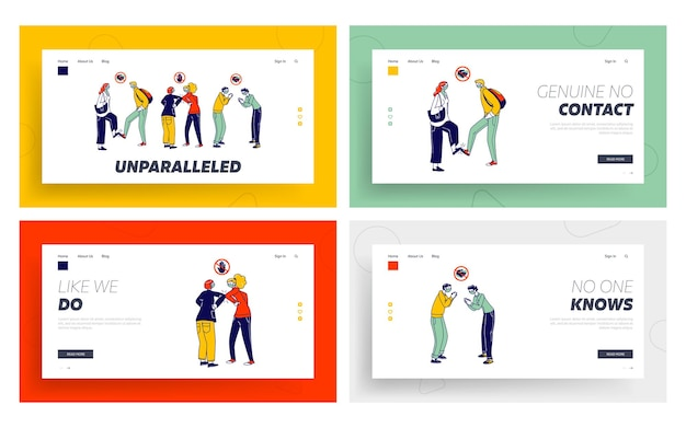 Characters greeting each other with feet and elbows landing page template set