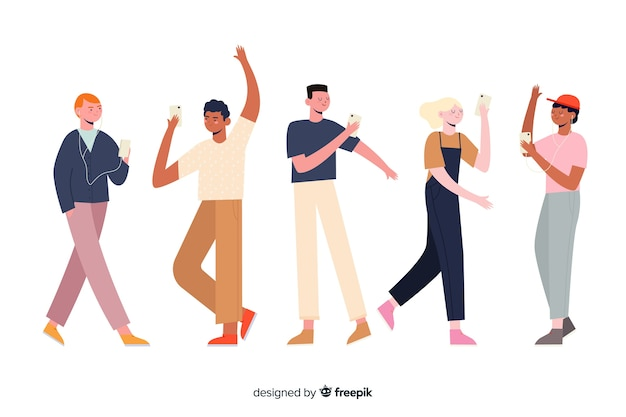 Characters group holding phone illustration