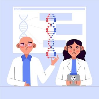 Characters holding dna molecules