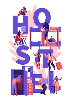 Characters hostel accommodation concept illustration