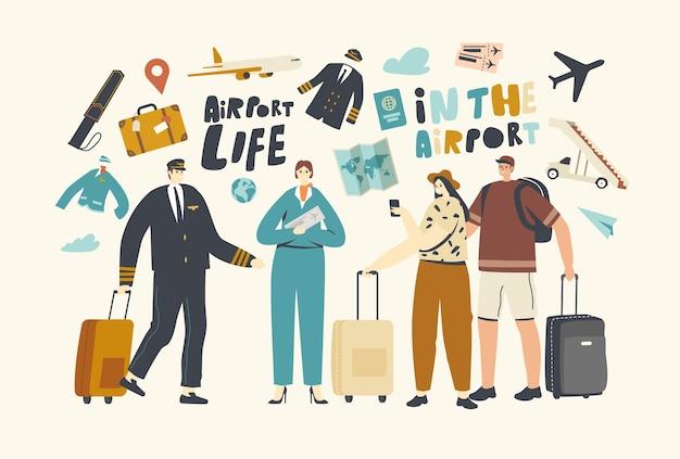 Персонажи в концепции аэропорта. люди садятся в самолет. путешественники и пилот экипажа со стюардессой приглашают пассажиров сесть на борт реактивного самолета для авиаперелета. линейные векторные иллюстрации