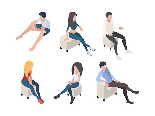 ソファアームチェアのキャラクターリラックスポーズの人間の男性と女性