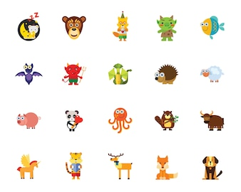 Characters In Fairy Tales Icon Set