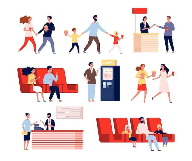 Персонажи в кинотеатре. веселые люди собираются на развлекательное шоу смотреть фильмы векторных плоских людей. кино фильм, просмотр с иллюстрацией попкорна