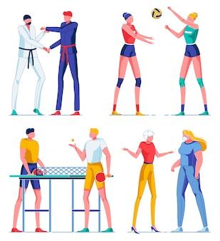 Персонажи в различных видах спорта, больница с доктором.