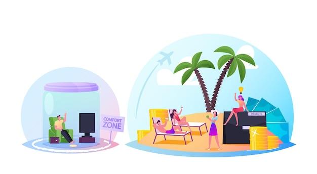 Персонажи внутри зоны комфорта. люди под стеклянным куполом и банкой, мечтающие об успехе, карьере и бизнесе. самосовершенствование, тысячелетний образ жизни, образование и рост. векторные иллюстрации шаржа