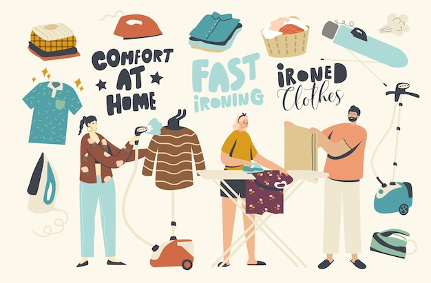 집에서 깨끗한 린넨을 다림질하는 캐릭터. 젊은이들은 매일 가정의 일상, 기선과 다리미를 사용하여 순수한 옷을 선상에서 다림질합니다. 가사 노동 활동, 세탁. 선형 벡터 일러스트 레이 션