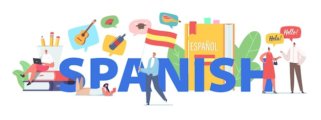 Characters learning spanish language course concept. tiny people at huge textbooks and flag, teacher and students chatting, espanol webinar lesson poster, banner or flyer. cartoon vector illustration