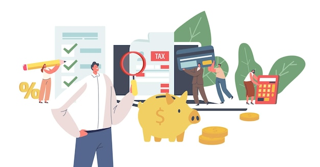 Characters make online tax payment concept. tiny young woman filling huge application for tax form. online taxation submitting system, payment calculating. cartoon people vector illustration