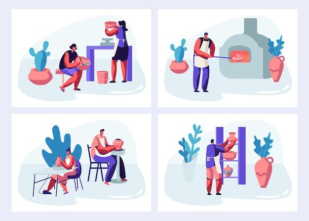 Персонажи делают и украшают набор горшков, фаянса, посуды и другой керамики в гончарной мастерской. мультфильм плоский рисунок