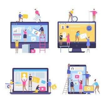 Персонажи, делающие веб-страницы. народы оформили веб-сайты команды в сценах бизнес-маркетинга просто стилизованно