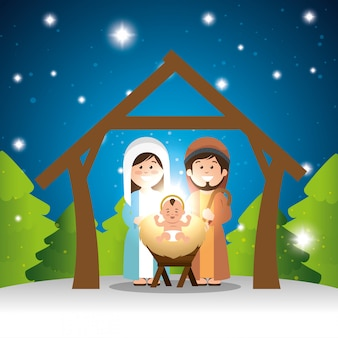 Characters manger merry christmas design