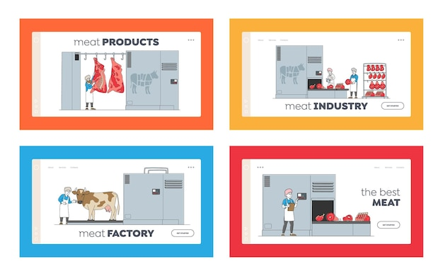 Characters manufacturing meat production landing page template set