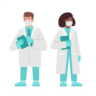 문자 위생병, 의사 및 간호사, 흰색 배경에 고립 상담을 제공합니다. 병원에서 현대 의료진. 약에서 일하고 사람들의 생명을 구하고 치료하십시오. 평면 그림