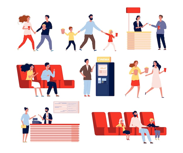 Characters in movie theatre. funny people going to entertainment show watching films vector flat persons. cinema film, watching with popcorn illustration