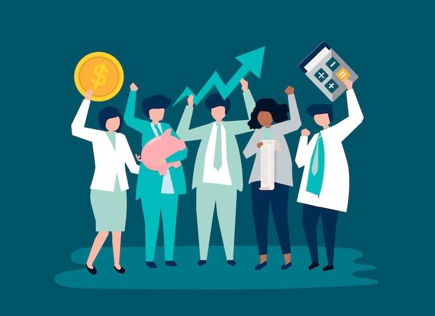 Персонажи деловых людей и значки роста производительности