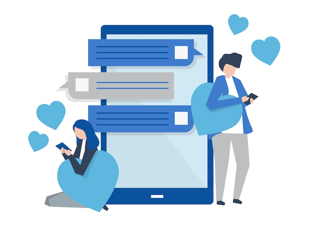 モバイルイラストのカップルのメッセージのキャラクター