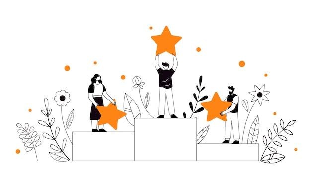 ビジネスサクセスチームのキャラクター、リーダーシップ、会社のプレミアム品質。成功する道への方向。キャリアと高い評価を構築します。