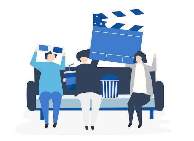 Персонажи людей, держащих иконки кино