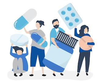 Characters of people holding pharmaceutical icons