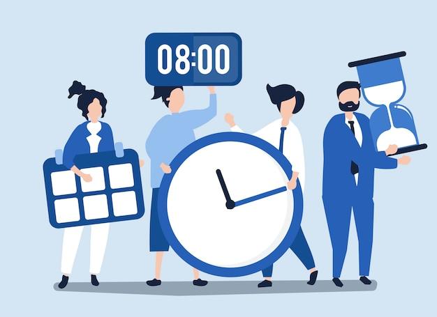 시간 관리 개념을 잡고 사람들의 캐릭터