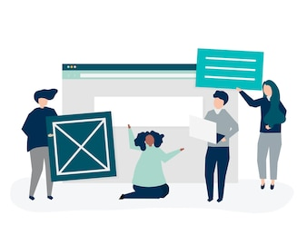 Characters of people holding website icons illustration