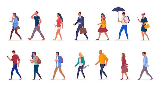 Персонажи людей, идущих по улице