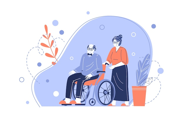 The characters of an old couple. grandmother takes care of an elderly grandfather in a wheelchair. helping the elderly. taking care of pensioners. vector illustration in a flat style