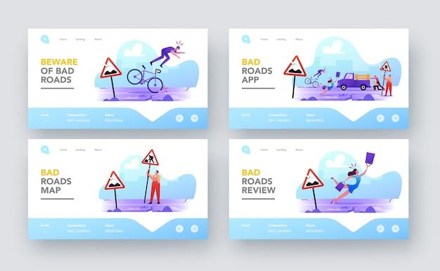 Персонажи на наборе шаблонов страницы посадки плохой дороги. жители города попадают в беду на разбитом шоссе. женщина спотыкается, падая на асфальт, мужчина падает с велосипеда. мультфильм люди векторные иллюстрации