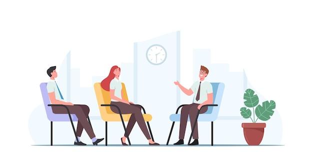 Персонажи на консультациях по финансовому бизнесу или заседаниях совета директоров. сотрудники обсуждают стратегию компании получить консультацию