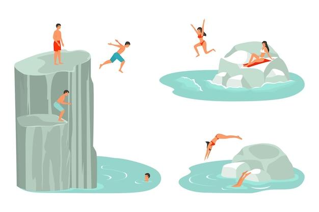 물에 빠진 캐릭터 또는 친구